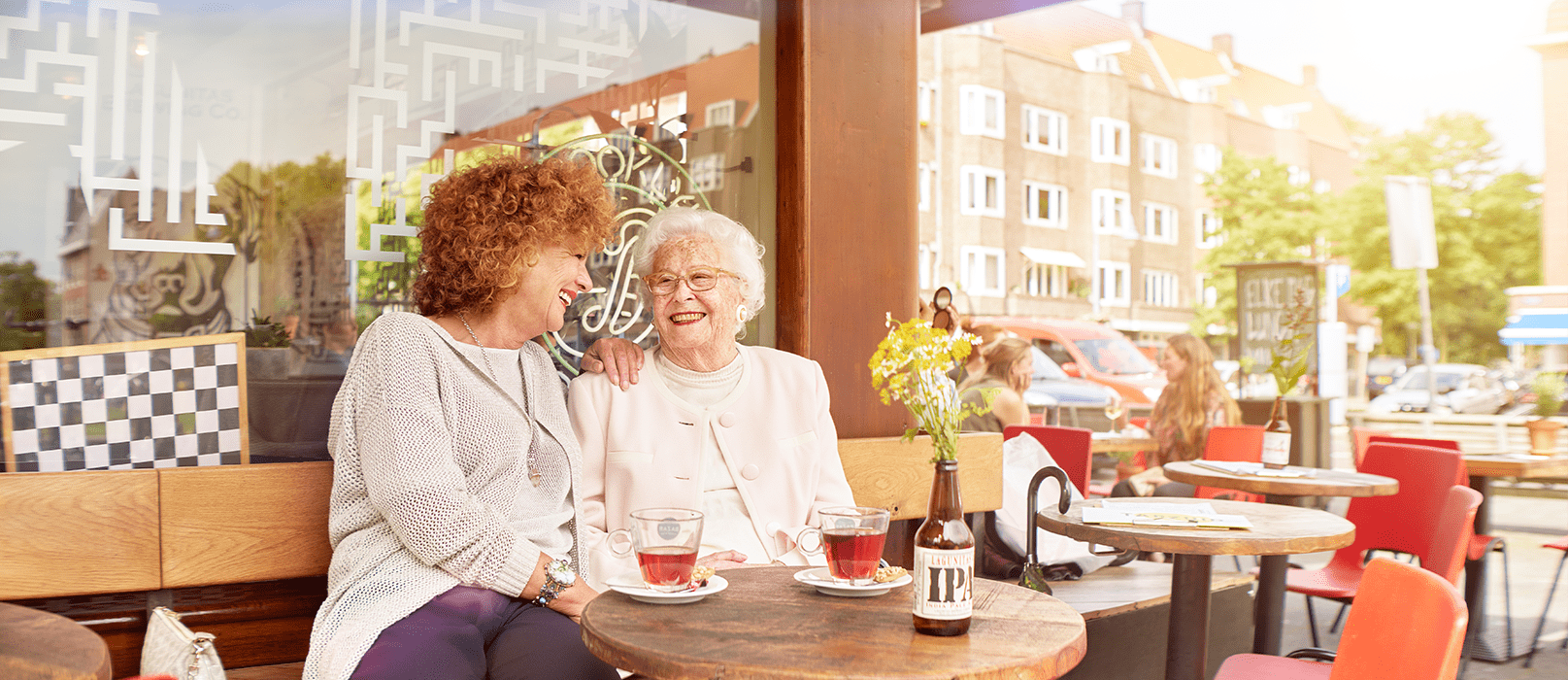 Mother and daughter are both happy because the mother can live independently at home for a longer period of time